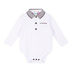 Baker by Ted Baker - Baby boys' white mock polo top bodysuit
