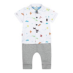 Baker by Ted Baker - Baby boys' white aeroplane shirt and grey ribbed joggers set