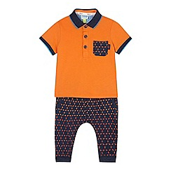Baker by Ted Baker - Baby boys' orange polo top and hexagon jogging bottoms set
