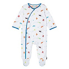 Baker by Ted Baker - Baby boys' white aeroplane print sleepsuit
