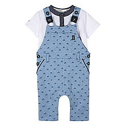 Baker by Ted Baker - Baby boys' blue car print dungarees and t-shirt set