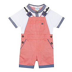 Baker by Ted Baker - Baby boys' red textured dungarees and white t-shirt set
