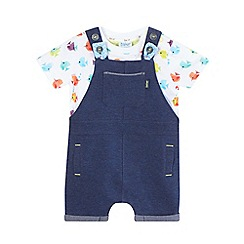Baker by Ted Baker - Baby boys' navy textured dungarees and fish print t-shirt set
