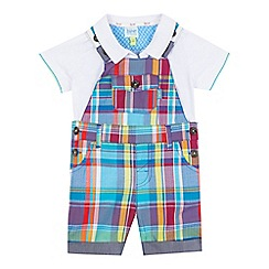 Baker by Ted Baker - Baby boys' multi-coloured checked print dungarees and white polo shirt set