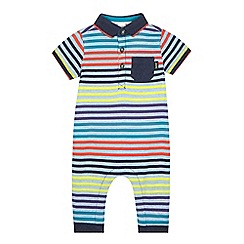 Baker by Ted Baker - Baby boys' blue striped polo romper suit