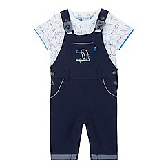Baker by Ted Baker - Baby boys' navy dungarees and toucan print t-shirt set