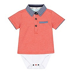 Baker by Ted Baker - Baby boys' red textured mock polo bodysuit