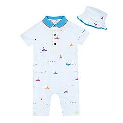 Baker by Ted Baker - Baby boys' multi-coloured romper suit and sun hat