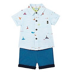 Baker by Ted Baker - Baby boys' blue submarine print shirt and shorts set