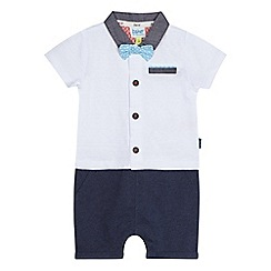 Baker by Ted Baker - Baby boys' white textured line bow tie romper suit