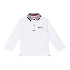 Baker by Ted Baker - Boys' white textured stripe long sleeved polo shirt