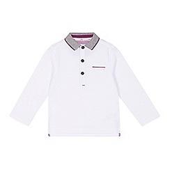 Baker by Ted Baker - Boys' white textured stripe long sleeved polo shirt