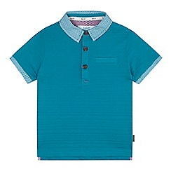 Baker by Ted Baker - Boys' dark turquoise textured stripe polo shirt