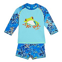 Baker by Ted Baker - Boys' blue frog rash swim vest and trunks
