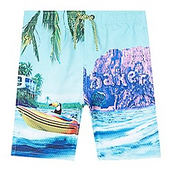 Baker by Ted Baker - Boys' green photographic beach scene swim shorts