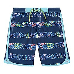 Baker by Ted Baker - Boys' navy hibiscus striped swim shorts