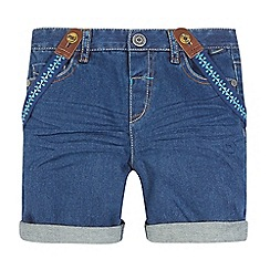 Baker by Ted Baker - Boys' dark blue denim shorts and braces set