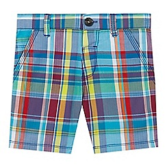 Baker by Ted Baker - Boys' multi-coloured herringbone textured checked print shorts