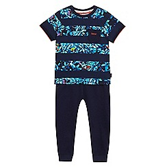 Baker by Ted Baker - Boys' navy tree frog stripe print t-shirt and jogging bottoms set