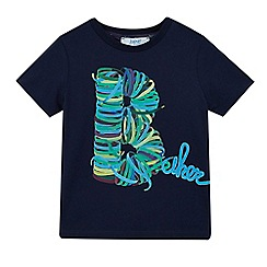 Baker by Ted Baker - Boys' navy shoelace logo print t-shirt