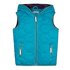 Baker by Ted Baker - Boys' turquoise hexagon padded hooded gilet