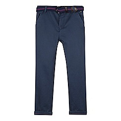 Baker by Ted Baker - Boys' blue slim fit chinos with woven belt