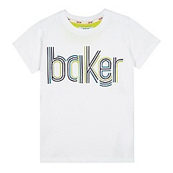 Baker by Ted Baker - Boys' white textured graphic logo t-shirt