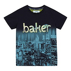 Baker by Ted Baker - Boys' navy city print logo applique t-shirt