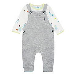 Baker by Ted Baker - Baby boys' grey dungarees and white printed top set