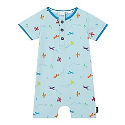Baker by Ted Baker - Baby boys' blue plane print romper suit and hat set
