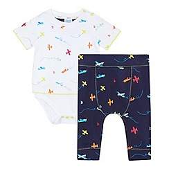 Baker by Ted Baker - Baby boys' multicoloured plane printed romper t-shirt and joggers