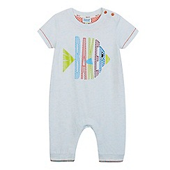 Baker by Ted Baker - Baby boys' light green logo fish print sleepsuit