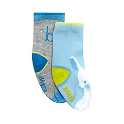 Baker by Ted Baker - Pack of two baby boys' blue bunny socks