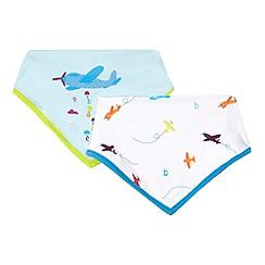 Baker by Ted Baker - Pack of two baby boys' white and blue plane bibs