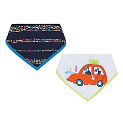 Baker by Ted Baker - Pack of two baby boys' white car and navy stripe print dribble bibs