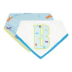 Baker by Ted Baker - Pack of two baby boys' white plane print dribble bibs