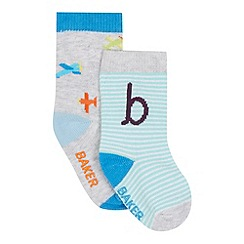 Baker by Ted Baker - Pack of two baby boys' aqua airplane socks