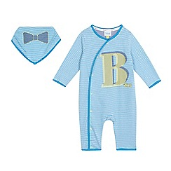 Baker by Ted Baker - Baby boys' blue striped sleepsuit and bib in a gift box