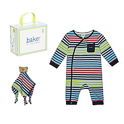 Baker by Ted Baker - Baby boys' striped sleepsuit teddy bear comforter in a gift box