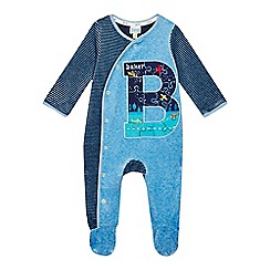 Baker by Ted Baker - Baby boys' blue velour glow in the dark sleepsuit