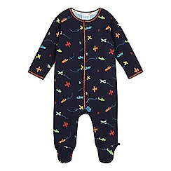 Baker by Ted Baker - Baby boys' navy airplane print sleepsuit