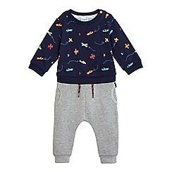 Baker by Ted Baker - Baby boys' blue aeroplane print mock romper suit and grey jogging bottoms set