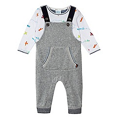 Baker by Ted Baker - Baby boys' grey dungarees and airplane print t-shirt set