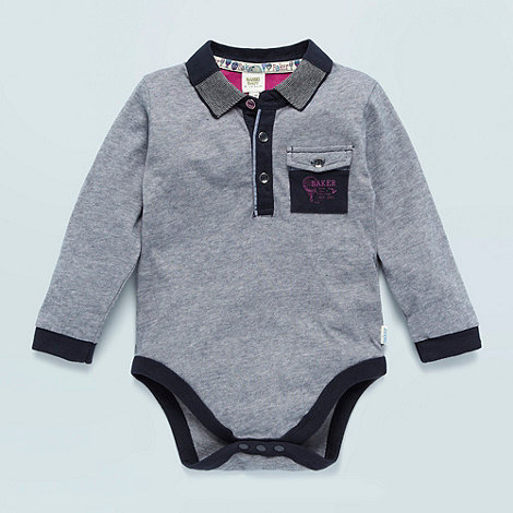 Baker by Ted Baker - Babies navy fine striped long sleeved bodysuit