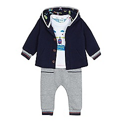 Baker by Ted Baker - Baby boys' navy ribbed jacket, white helicopter print t-shirt and grey joggers set