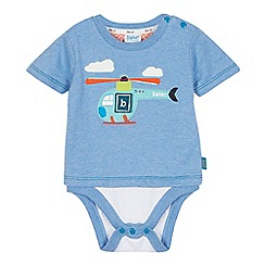 Baker by Ted Baker - Baby boys' blue mock t-shirt bodysuit