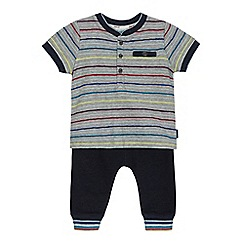 Baker by Ted Baker - Baby boys' grey striped top and navy joggers set