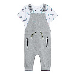 Baker by Ted Baker - Baby boys' grey dungarees and white racing car print t-shirt set