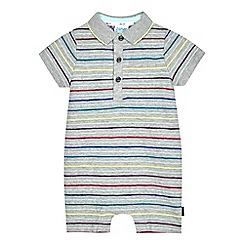 Baker by Ted Baker - Baby boys' multi-coloured striped print polo romper suit