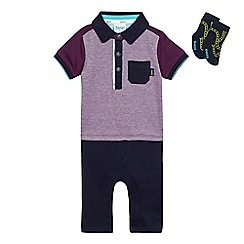 Baker by Ted Baker - Baby boys' purple polo romper suit with socks